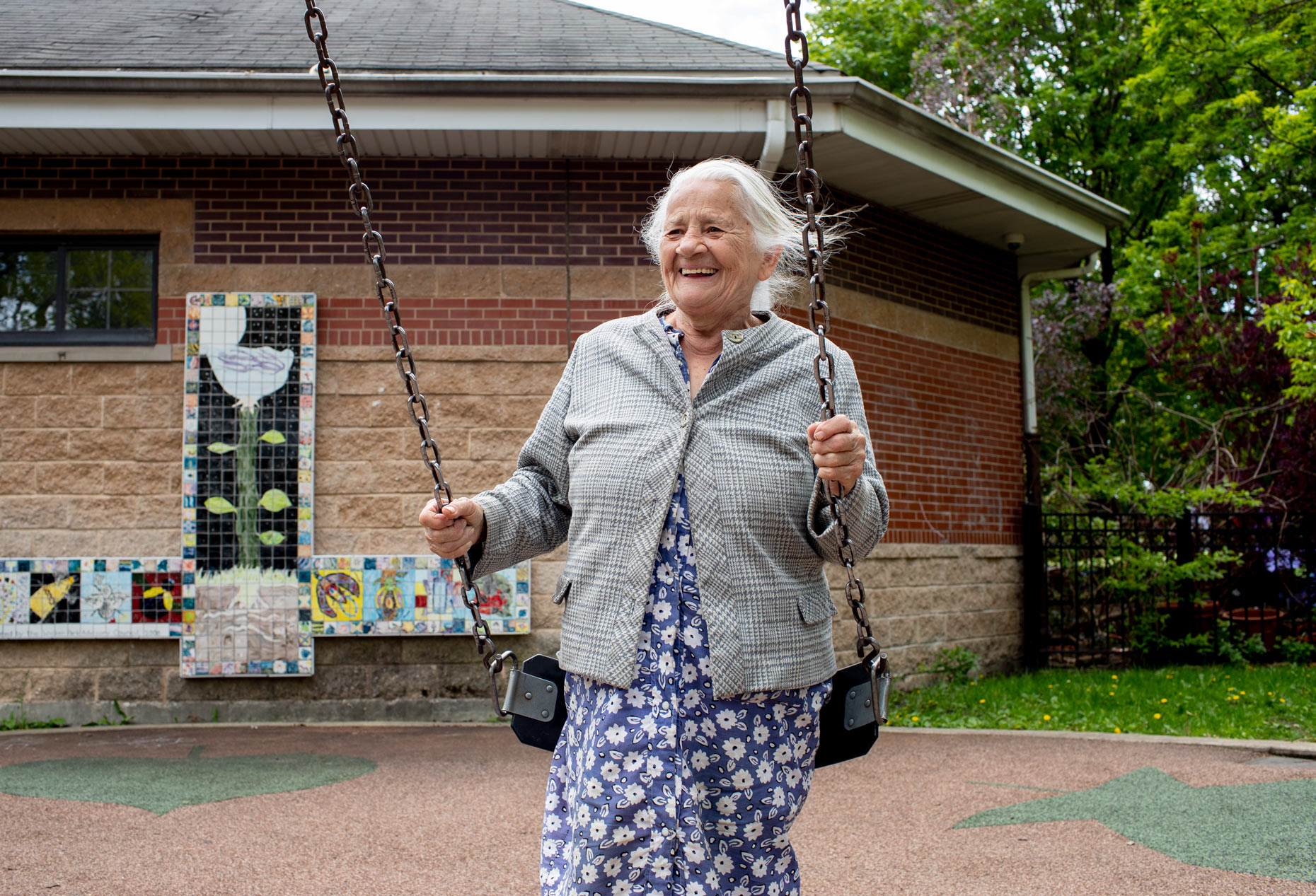 Senior woman on a swing